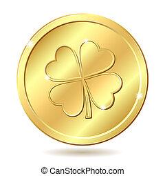 dorato, moneta, con, clover.