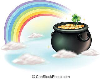 dorato, monete, arcobaleno
