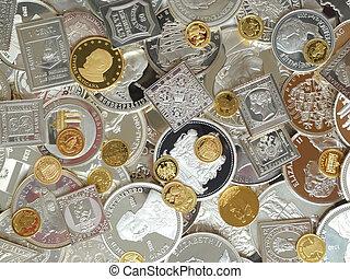 dorato, monete, argento, medaglie