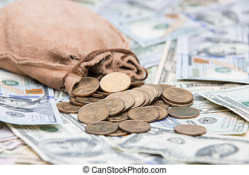 dorato, monete, dollaro, versamento, borsa