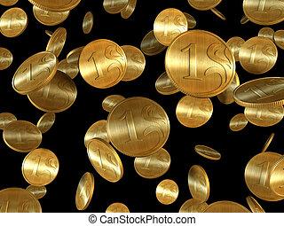 dorato, monete, isolato