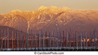 dorato, montagne columbia, barca vela, gerico, neve, britannico, alberi, vancouverthrough, tramonto pacifico, spiaggia, nord-ovest