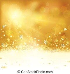 dorato, natale, fondo, con, luci, e, fiocchi neve