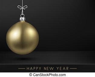 dorato, nero, scheda, anno, nuovo, natale felice, ball., 3d