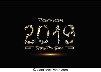 dorato, note musicali, in, il, forma, di, numeri, anno, 2019., vettore, oro, su, nero, stile