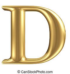 dorato, opaco, gioielleria, d, collezione, lettera, font