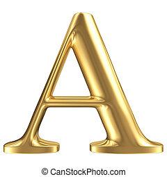 dorato, opaco, gioielleria, uno, collezione, lettera, font