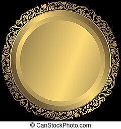 dorato, ornamento, piastra, vendemmia