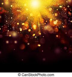 dorato, oro, festivo, astratto, fondo., bokeh, natale