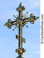 dorato, ortodosso, cristiano, croce