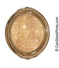 dorato, ovale, cornice foto, con, vecchio, marrone, tela, inside.isolated.