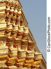 dorato, pagoda, dettaglio