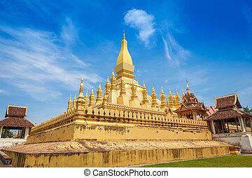 dorato, pagoda, in, laos, dettaglio