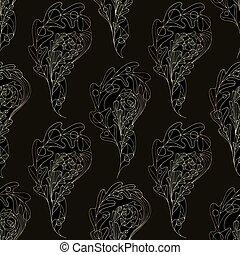 dorato, paisley, foglia, pattern., foglie, quercia, seamless, fondo., vettore, astratto