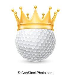 dorato, palla, corona, golf