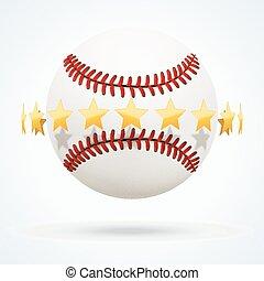 dorato, palla, cuoio, illustrazione, vettore, baseball, stelle