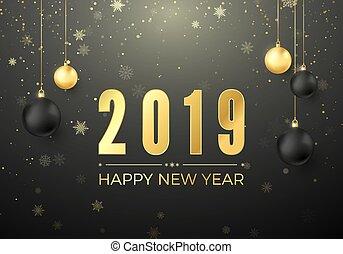 dorato, palle, element., augurio, illustrazione, decorazione, vettore, nero, numeri, anno, nuovo, 2019., scheda natale, felice