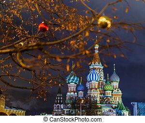 dorato, palle, immagine, albero, fondo, cattedrale, rosso