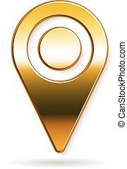 dorato, pennarello, posizione, logo., vettore, disegno