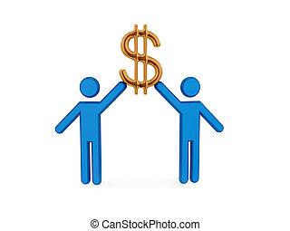 dorato, persone, segno., dollaro, piccolo, 3d