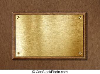 dorato, piastra, cornice legno, diploma, nameboard, fondo, ottone, o