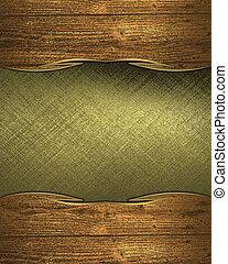 dorato, piastra, legno, edges., disegno, sagoma