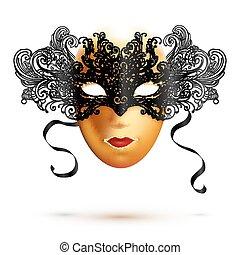dorato, pieno, carnevale, cima, maschera, faccia, nero, ornare, merletto