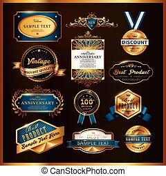 dorato, premio, etichette, collezione, splendido, qualità