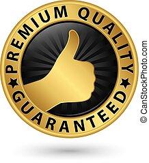 dorato, premio, guaranteed, illustrazione, vettore, etichetta, qualità