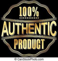 dorato, prodotto, illustrazione, vettore, etichetta, retro, autentico