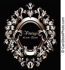 dorato, progetta, ricco, classico, cornice, sofisticato, ornato, vector., barocco, decors., rotondo, intagliato