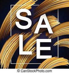 dorato, promo, manifesto, astratto, strokes., vendita, ...
