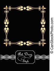 dorato, quadrato, arte, ornamento, deco, elegante, metalic, filigrana, cornici, stile, illusione, antiquarian, 3d