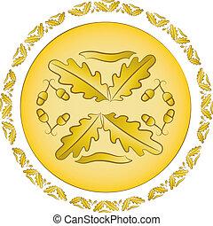 dorato, quercia, ornamento