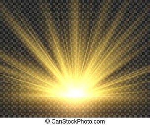 dorato, raggi, radiance., isolated., sole, giallo, sole, illustrazione, riflettore, luminoso, vettore, luce sole, starburst, trasparente