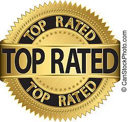 dorato, rated, cima, vettore, etichetta, nuovo