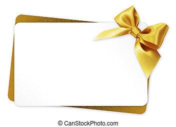 dorato, regalo, isolato, arco, nastro, fondo, bianco, scheda