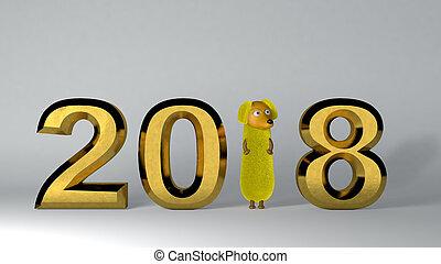 dorato, rendering., fondo., 2018, anno, nuovo, 3d