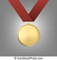dorato, ribbon., premio, realistico, vettore, medaglia, rosso