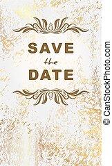 dorato, risparmiare, cartolina, vendemmia, invito, grunge, patina, fondo, matrimonio, data, invecchiato, marmo