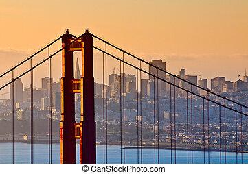 dorato, san, california, francisco, cancello, ponte