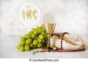 dorato, santo, calice, isolato, comunione, bianco, ...