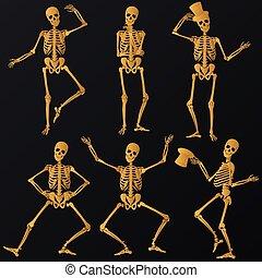 dorato, scheletri, ballo