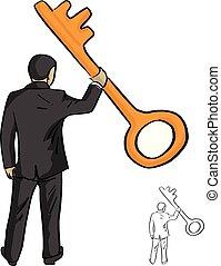dorato, schizzo, uomo affari, chiave, grande, linee, isolato, illustrazione, uno, vettore, nero, presa a terra, scarabocchiare, disegnato, fondo, mano, bianco
