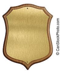 dorato, scudo, cornice legno, isolato, diploma, fondo, bianco