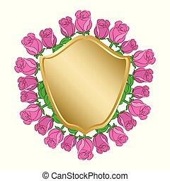 dorato, scudo, cornice, -, rose, vettore, rosso