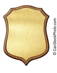 dorato, scudo, diploma, in, cornice legno, isolato, bianco, fondo