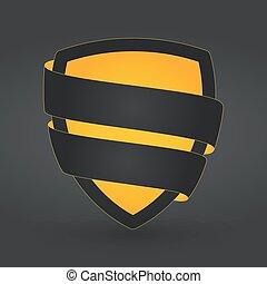 dorato, scudo, testo, scuro, singolo, fondo, pronto, nastro, sagoma