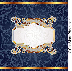 dorato, seamless, struttura, emblema, retro, floreale