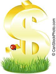 dorato, segno dollaro, in, erba, con, coccinella